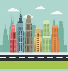 building skyscraper urban road modern style vector image