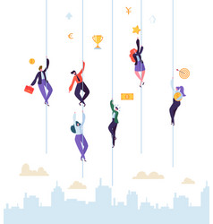 Business people climbing to success businessman vector