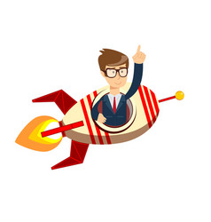 businessman on a rocket startup business concept vector image