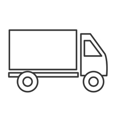 Cargo Truck line icon black and white colors vector image