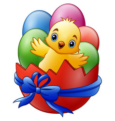 Cartoon little baby chicken with colored eggs in t vector