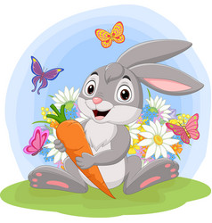 cartoon rabbit holding a carrot in grass vector image