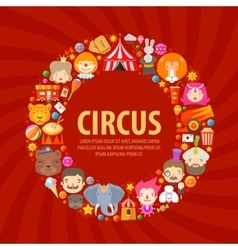 circus icons set collection elements clown vector image