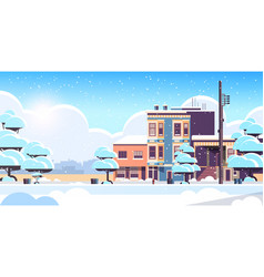 city building houses exterior modern town snowy vector image