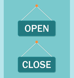 close and open sign retro banner on door vector image