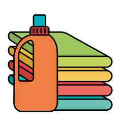 Clothes folded with detergent bottle vector