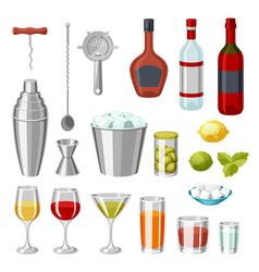 Cocktail bar set essential tools glassware vector