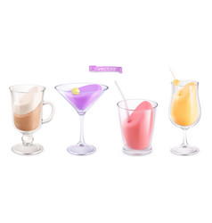 cocktail in a transparent glass 3d icon set vector image