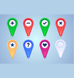 collection map pins in different colors and vector image