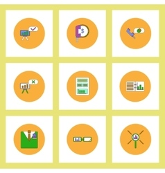 Collection of icons in flat style business vector image