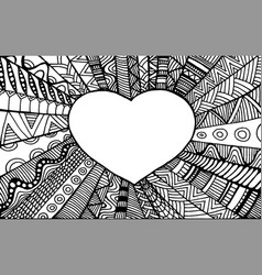 Coloring page romantic ornamental frame heart vector