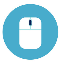 computer mouse icon on round blue background vector image