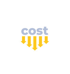 Cost down icon with arrows vector