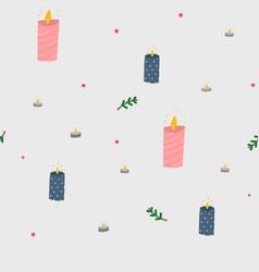 Cozy candle season seamless pattern cute scene vector