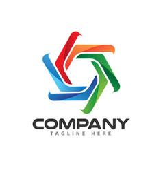 Creative colorful waterwheel logo design vector