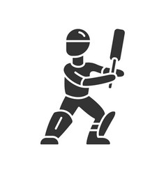 cricket player glyph icon batsman ready to fight vector image