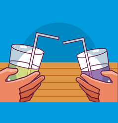Cups of juices vector