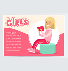 cute blonde girl sitting and reading book girls vector image