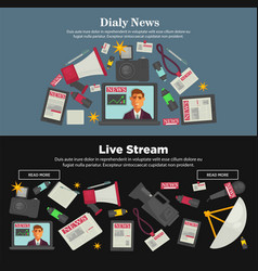 daily news and live stream promotional internet vector image