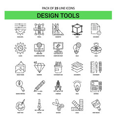 Design tools line icon set - 25 dashed outline vector