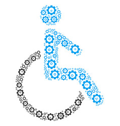 Disabled person collage of gear vector