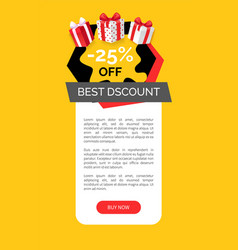 discount and products 25 percent sale page vector image