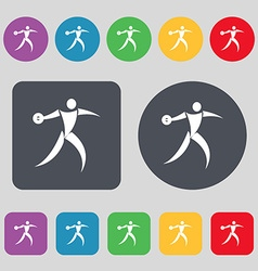 Discus thrower icon sign a set of 12 colored vector