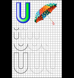 Educational page with letter u on a square paper vector