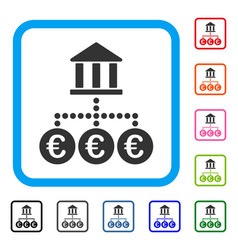 euro bank transactions framed icon vector image