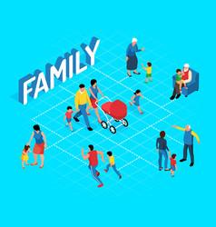 family isometric flowchart vector image