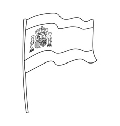 Flag of spain icon in outline style isolated on vector