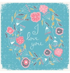 Floral wreath beautiful greeting card with vector