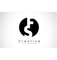 fs letter logo design inside a black circle vector image