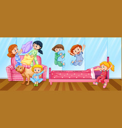 Girls having slumber party in bedroom vector
