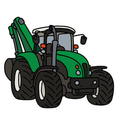 Green tractor with an excavator vector
