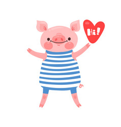 greeting card with cute piglet sweet pig says hi vector image
