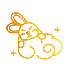 happy mid autumn festival cute bunny cloud vector image