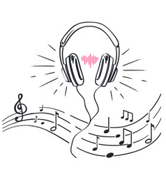 Headphones sheet music notes monochrome sketches vector