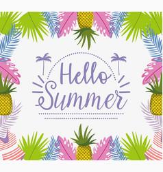 Hello summer holiday lettering design vector