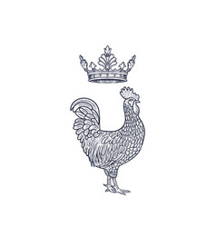 Hen or chicken with crown hand drawn with contour vector