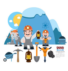 infographics miners miner working professional vector image