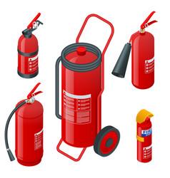 Isometric foam extinguishers fire extinguishers vector