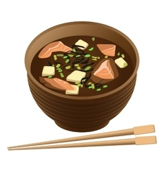 Japanese traditional food soup with salmon and vector image