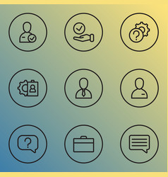 job icons line style set with setting selection vector image