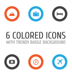 journey icons set collection of bag camera vector image