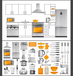 Kitchen collection appliances and kitchenware vector