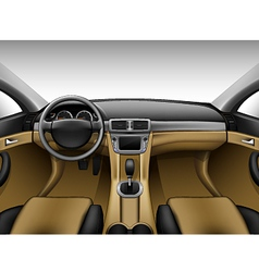 Light beige leather car interior vector