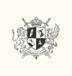 lion and eagle crest vector image