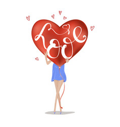 love slogan with girl realistic red heart love vector image