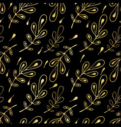 Luxe leaves line art seamless pattern hand drawn vector